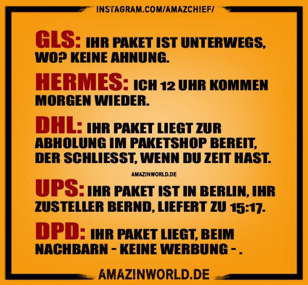 Paketdienste - Ihr Paket GLS, Hermes, DHL, UPS, DPD